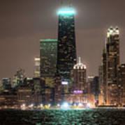 Chicago Skyline At Night North Ave Beach V2 Dsc1732 Art Print