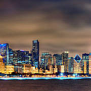 Chicago Skyline At Night Panorama Color 1 To 3 Ratio Art Print