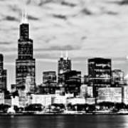 Chicago Skyline At Night Art Print by Paul Velgos