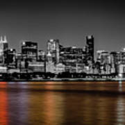 Chicago Skyline - Black And White With Color Reflection Art Print