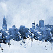 Chicago Skyline-blue 2 Art Print