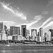 Chicago Skyline Panorama Black And White Art Print