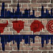 Chicago Sports Team Flag On Brick Art Print