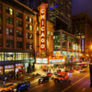 Chicago Theater At Night Art Print