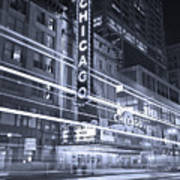Chicago Theater Marquee B And W Art Print