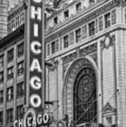 Chicago Theatre Bw Art Print