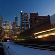Chicago Train Blur Art Print