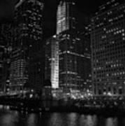 Chicago Wacker Drive Night Art Print