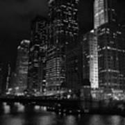 Chicago Wacker Drive Night Portrait Art Print