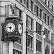 Chicago's Father Time Clock Bw Art Print