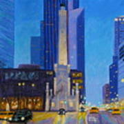 Chicago's Water Tower At Dusk Art Print