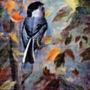 Chickadee In The Fall Art Print
