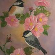 Chickadees And Roses Art Print