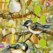 Chickadees Three Art Print