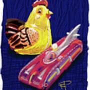 Chicken And Rocket Car Art Print