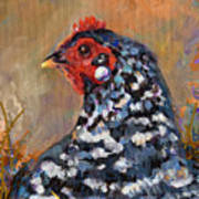 Chicken With A Pearl Ear Ring Art Print