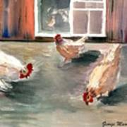 Chickens In The Barnyard Art Print