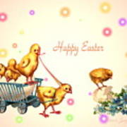 Chicks And Eggs - Happy Easter Art Print