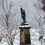 Chief John Logan Statue In The Snow Art Print