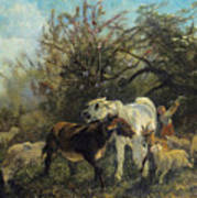 Child And Sheep In The Country Art Print