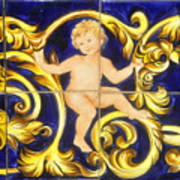 Child In Blue And Gold Art Print