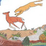 Childhood Drawing Cougar Attacking Deer Art Print
