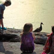 Children At The Pond 1 Art Print