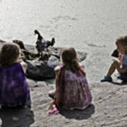 Children At The Pond 2 Art Print