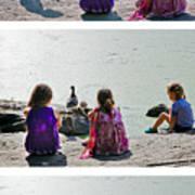 Children At The Pond Triptych Art Print