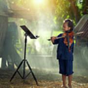 Children In Folk Costumes Playing Violin In Thailand Art Print