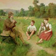 Children Listen To A Shepherd Playing A Flute Art Print
