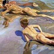 Children On The Beach Print by Joaquin Sorolla y Bastida