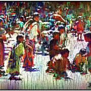 Children Picking Up Candy Art Print
