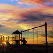 Children Playground At Sunset Art Print