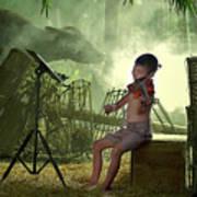 Children Playing Violin In The Folk Style. Art Print