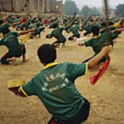 Children Practice Kung Fu In A Field Art Print