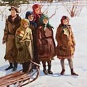 Children With A Sled Nikolai Petrovich Bogdanov-belsky Art Print