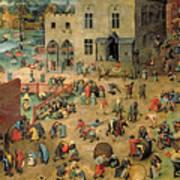 Children's Games Art Print by Pieter the Elder Bruegel