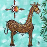 Childrens Nursery Art Original Giraffe Painting Playful By Madart Art Print