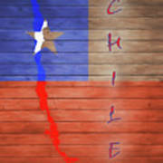 Chile Rustic Map On Wood Art Print