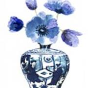 China Blue Vase  With Poppy Flower Art Print