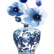 China Ming Vase With Flower Art Print
