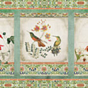 Triptych - Chinoiserie Vintage Hummingbirds N Flowers Art Print