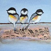 Chirpy Chickadees Art Print
