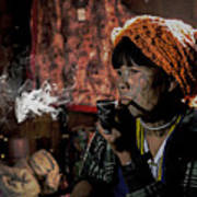 Cho Chin Woman Smoking  Art Print
