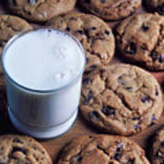 Chocolate Chip Cookies And Glass Of Milk Art Print
