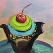 Chocolate Cupcake With Cherry Art Print