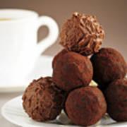 Chocolate Truffles And Coffee Art Print by Elena Elisseeva