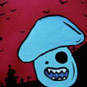 Chomping Zombie Mushroom Art Print by Jera Sky