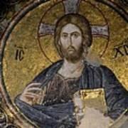 Christ Holds Bible In Mosaic At Chora Church Istanbul Turkey Art Print